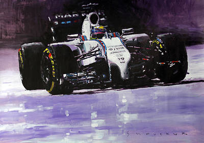 Team Painting - 2014 Williams F1 Team Fw 36 Felipe Massa  by Yuriy Shevchuk