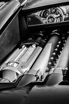 Photograph - 2015 Bugatti Veyron Legend Engine -0460bw by Jill Reger