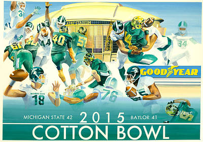 Michigan State Painting - 2015 Cotton Bowl Spartan Victory by Robert Brent