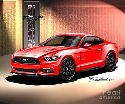 Automotive Art Drawing - 2015 Ford Mustang Premium Fastback  by Danny Whitfield
