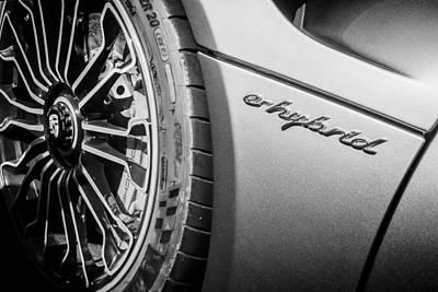 Photograph - 2015 Porsche 918 Spyder E-hybrid Wheel Emblem -0238bw by Jill Reger