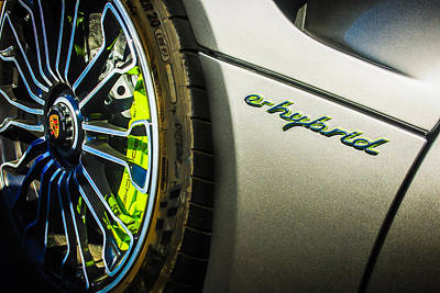 Art Print featuring the photograph 2015 Porsche 918 Spyder E-hybrid Wheel Emblem -0238c by Jill Reger