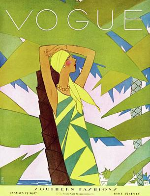 Text Photograph - A Vintage Vogue Magazine Cover Of A Woman by Eduardo Garcia Benito