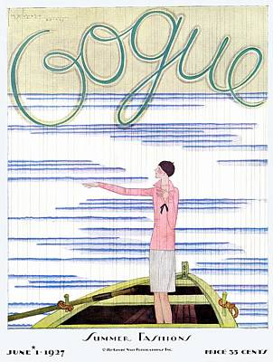 Gestures Photograph - A Vintage Vogue Magazine Cover Of A Woman by Georges Lepape