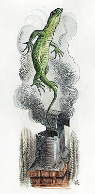 Iguana Drawing - Carroll Alice, 1865 by Granger