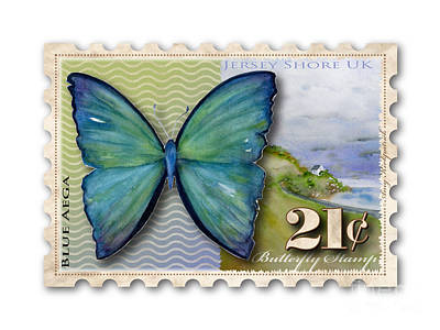Jersey Shore Painting - 21 Cent Butterfly Stamp by Amy Kirkpatrick