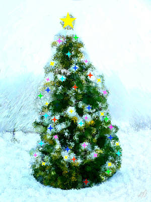 Snow Painting - Christmas Tree by Bruce Nutting
