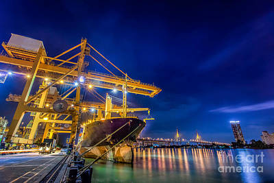 Town Pier Photograph - Container Cargo Freight Ship  by Anek Suwannaphoom