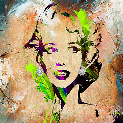 Celebrities Mixed Media - Marilyn Monroe Diamond Earring Collection by Marvin Blaine