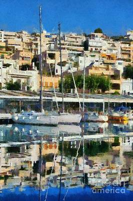 Athens Painting - Reflections In Mikrolimano Port by George Atsametakis