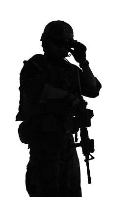 Photograph - Silhouette Of A U.s. Marine Corps by Oleg Zabielin