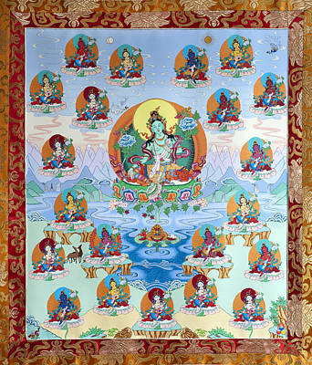 Buddhist Painting - 21 Taras by Ies Walker