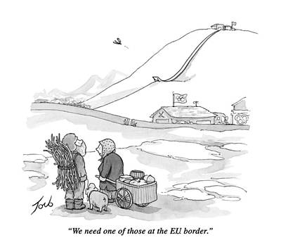 Skiing Drawing - We Need One Of Those At The E.u. Border by Tom Toro