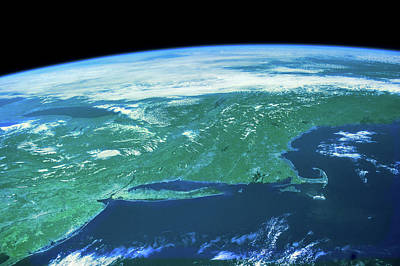Northeastern Photograph - View Of Planet Earth From Space Showing by Panoramic Images
