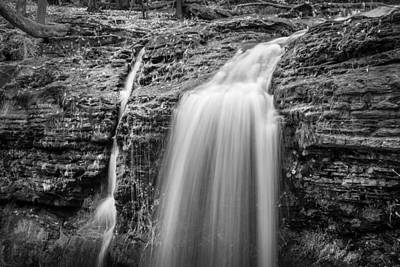 Dingmans Falls Photograph - Waterfalls George W Childs National Park Painted Bw   by Rich Franco