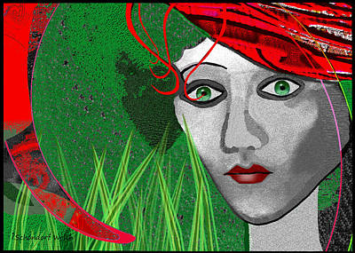 210 - Lady  Red Hat Art Print by Irmgard Schoendorf Welch