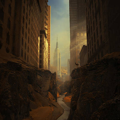 Empire State Building Digital Art - 2146 by Michal Karcz