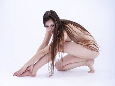 Photograph - 2149 Long Hair Model Avonelle Graceful Nude  by Chris Maher