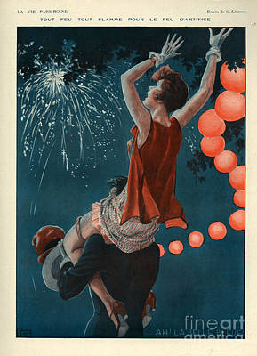 Fireworks Drawing - 1920s France La Vie Parisienne Magazine by The Advertising Archives