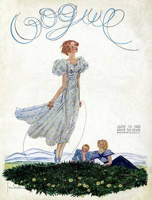 A Vintage Vogue Magazine Cover Of A Woman Art Print by Georges Lepape