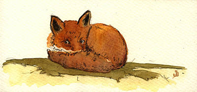 Red Fox Print by Juan  Bosco