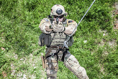 Photograph - Soldier During Assault Rappelling by Oleg Zabielin