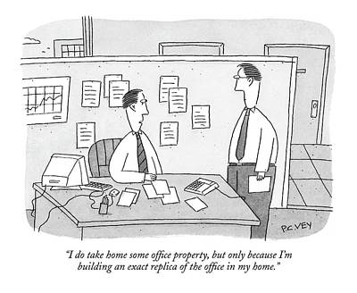 September 19th Drawing - I Do Take Home Some Office Property by Peter C. Vey