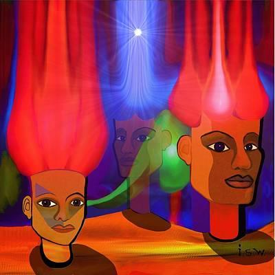 Sphinx Digital Art - 223 - Modern Sphinx - Heads  ... by Irmgard Schoendorf Welch