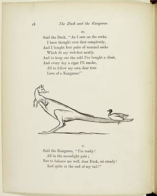 Marsupial Photograph - A Book Of Nonsense By Lear by British Library