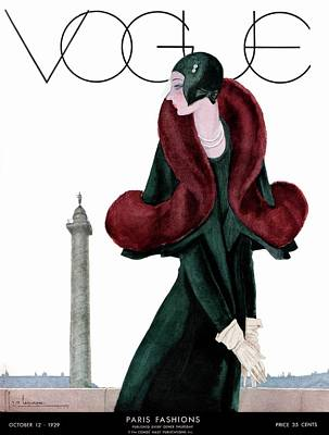 Necklace Photograph - A Vintage Vogue Magazine Cover Of A Woman by Georges Lepape