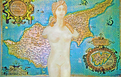Digital Art - Ancient Cyprus Map And Aphrodite by Augusta Stylianou
