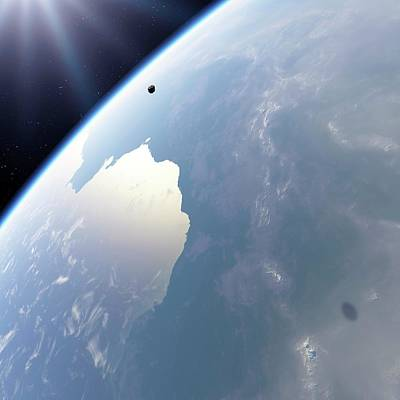 Impact Photograph - Asteroid Approaching Earth by Detlev Van Ravenswaay