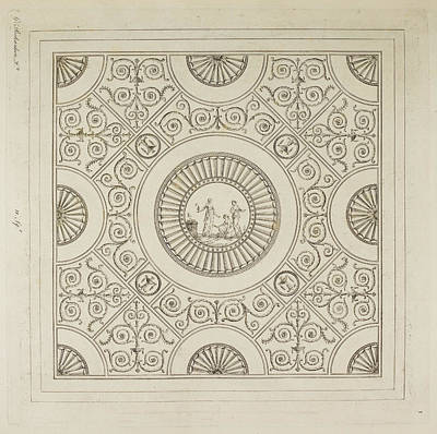 Classicism Photograph - Design For A Ceiling by British Library