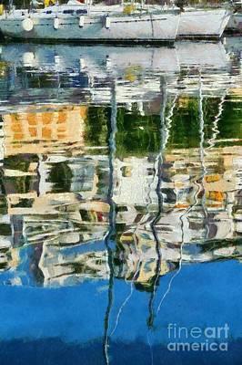 Reflections In Mikrolimano Port Art Print by George Atsametakis