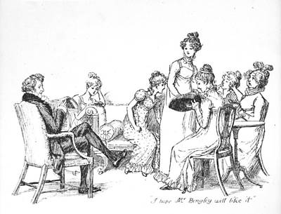 Kitty Drawing - Scene From Pride And Prejudice By Jane Austen by Hugh Thomson