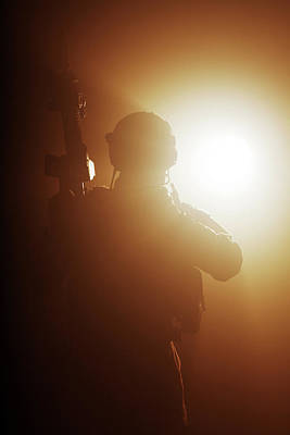 Photograph - Special Forces Soldier With Rifle by Oleg Zabielin