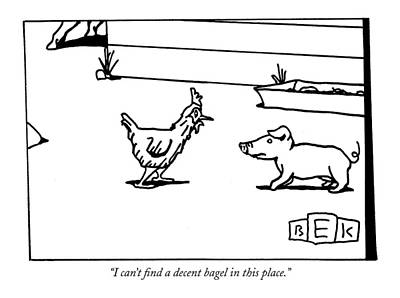 Domestic Animals Drawing - I Can't Find A Decent Bagel In This Place by Bruce Eric Kaplan