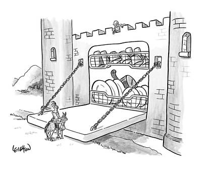 Castle Drawing - New Yorker September 7th, 2009 by Robert Leighton