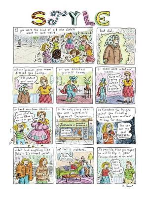Cousins Drawing - New Yorker March 16th, 2009 by Roz Chast