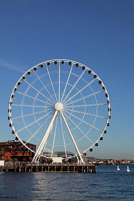 Seattle Skyline Photograph - Wa, Seattle, The Seattle Great Wheel by Jamie and Judy Wild