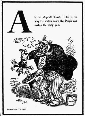 Asphalt Painting - Anti-trust Cartoon, 1902 by Granger