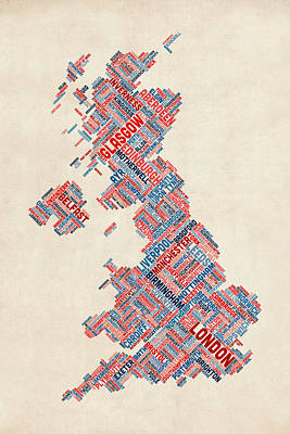 Britain Digital Art - Great Britain Uk City Text Map by Michael Tompsett