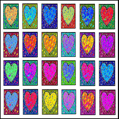 Painting - 24 Hearts In A Box by Dale Moses