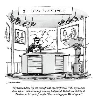 Best Friend Drawing - 24-hour Blues Cycle by Joe Dator