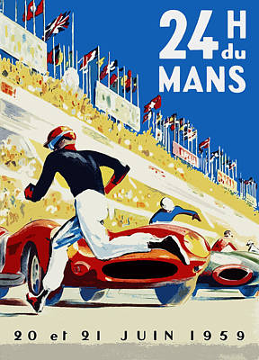 24 Hour Le Mans 1959 Art Print by Mark Rogan