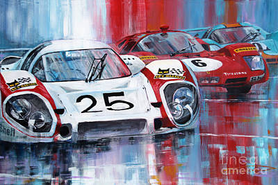 Team Painting - 24 Le Mans 1970 by Yuriy Shevchuk