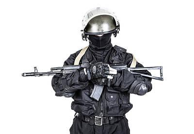Photograph - Spec Ops Soldier In Black Uniform by Oleg Zabielin