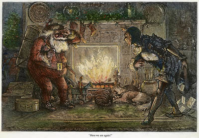 Christmas Eve Painting - Thomas Nast Santa Claus by Granger