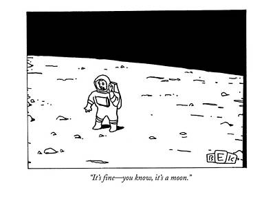 Astronauts Drawing - It's Fine - You Know by Bruce Eric Kaplan