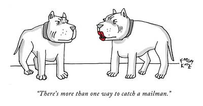 Pitbull Drawing - There's More Than One Way To Catch A Mailman by Farley Katz